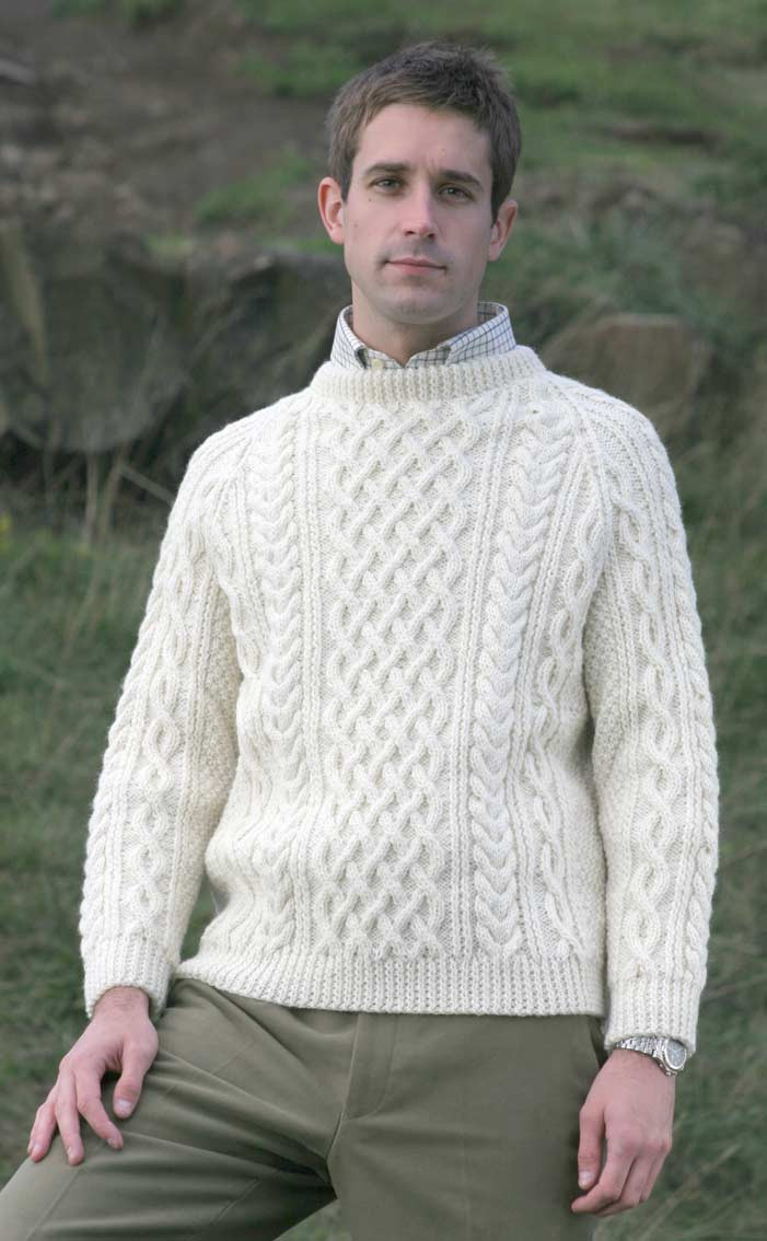 Mens Hand Knitted Luxury Aran Sweater - Torridon | CLAN by Scotweb