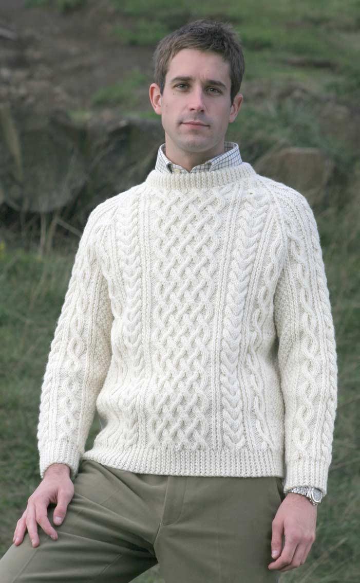 Mens Hand Knitted Luxury Aran Sweater Torridon Clan By