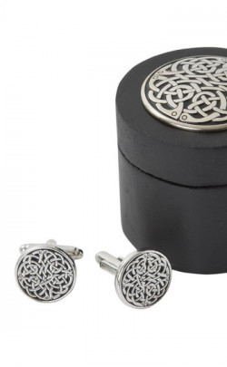 Never Ending Knot Cufflinks in Wooden Round Box