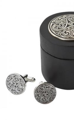 Triple Swirl Cufflinks in Wooden Round Box