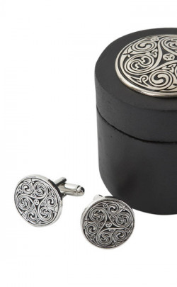 Celtic Triple Swirl Cuff Links with Presentation Box