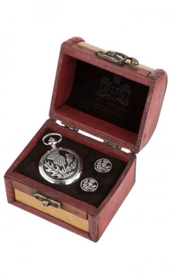 Scottish Thistle Quartz Movement Pocket Watch and Cufflink Set