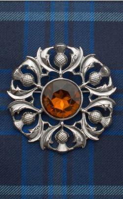 Scottish Thistle Jewelled Plaid Brooch