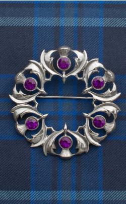 Jewelled Scottish Thistles Plaid Brooch
