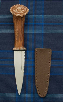 Imitation Stag Antler Sgian Dubh with Celtic Knot Motif