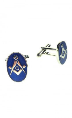 Masonic Cuff Links with Chrome Blue Finish