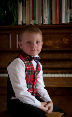 Boy's Tartan Wing Collar Bow Tie