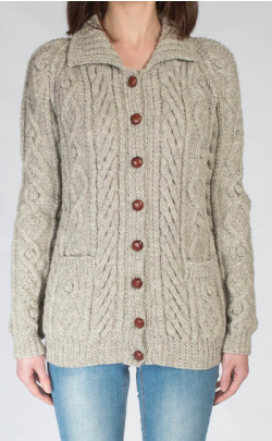 Ladies Luxury Hand‑Knitted Aran Cardigan ‑ Ness