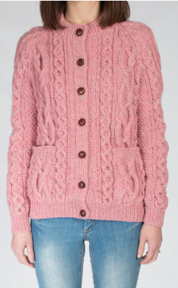 Ladies Luxury Hand‑Knitted Aran Cardigan ‑ Sunart