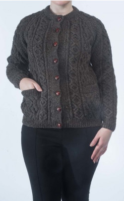 Ladies Luxury Hand‑Knitted Aran Cardigan ‑ Tay