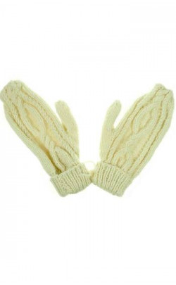 Hand‑Knitted Luxury Aran Mittens, Capercaillie