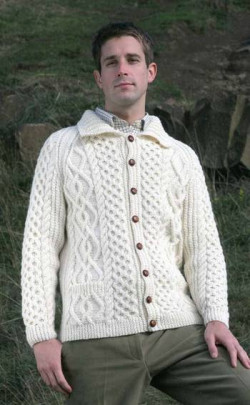 Gents Mens Hand‑Knitted Luxury Aran Cardigan ‑ Leven