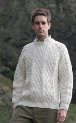 Gents Mens Hand Knitted Luxury Aran Sweater ‑ Cairngorm