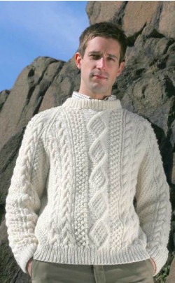 Mens Hand‑Knitted Luxury Aran Sweater ‑ Moorfoot