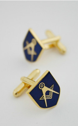 Navy Masonic Emblem Cuff Links