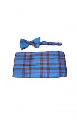 Luxury Wool Tartan Cummerbund & Bow Tie Set