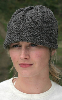 Ladies Hand‑Knitted Luxury Aran Peaked Cap, Naturals