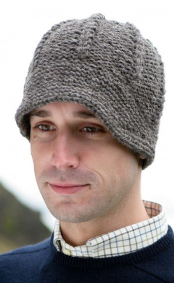 Gents Hand-Knitted Luxury Aran Peaked Cap, Gritstone