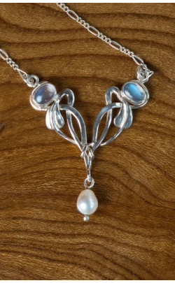 Moonstone and Pearl Floral Pendant