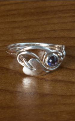 Iolite Floral Ring