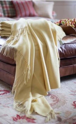 Luxury Cashmere Throw, Field Yellow Merchiston Plaid