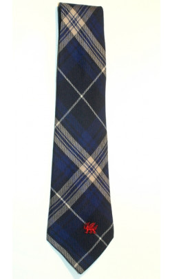 Welsh Tartan Tie with embroidered dragon