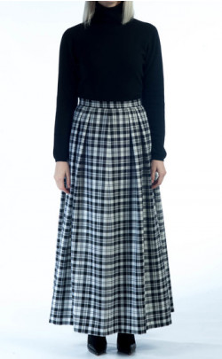 Soft Pleat Skirt, tartan