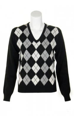 Ladies Cashmere Argyle V‑Neck Sweater