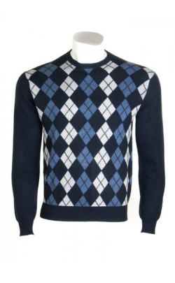 Gents Cashmere Argyle Crew Neck Sweater