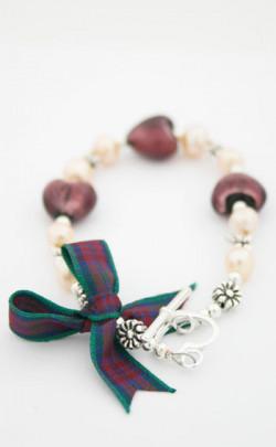 Jewel Heart Tartan Bracelet