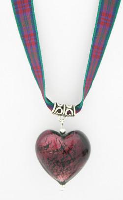 Jewel Heart Tartan Ribbon Necklace