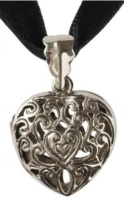 Filigree Heart Tartan Ribbon Necklace