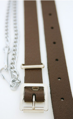 Chrome Brown Leather Chain Strap