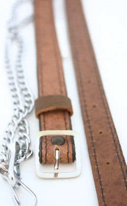 Khaki Leather Chain Strap