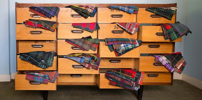 One of DC Dalgliesh's sample cabinets, the world's largest tartan archive
