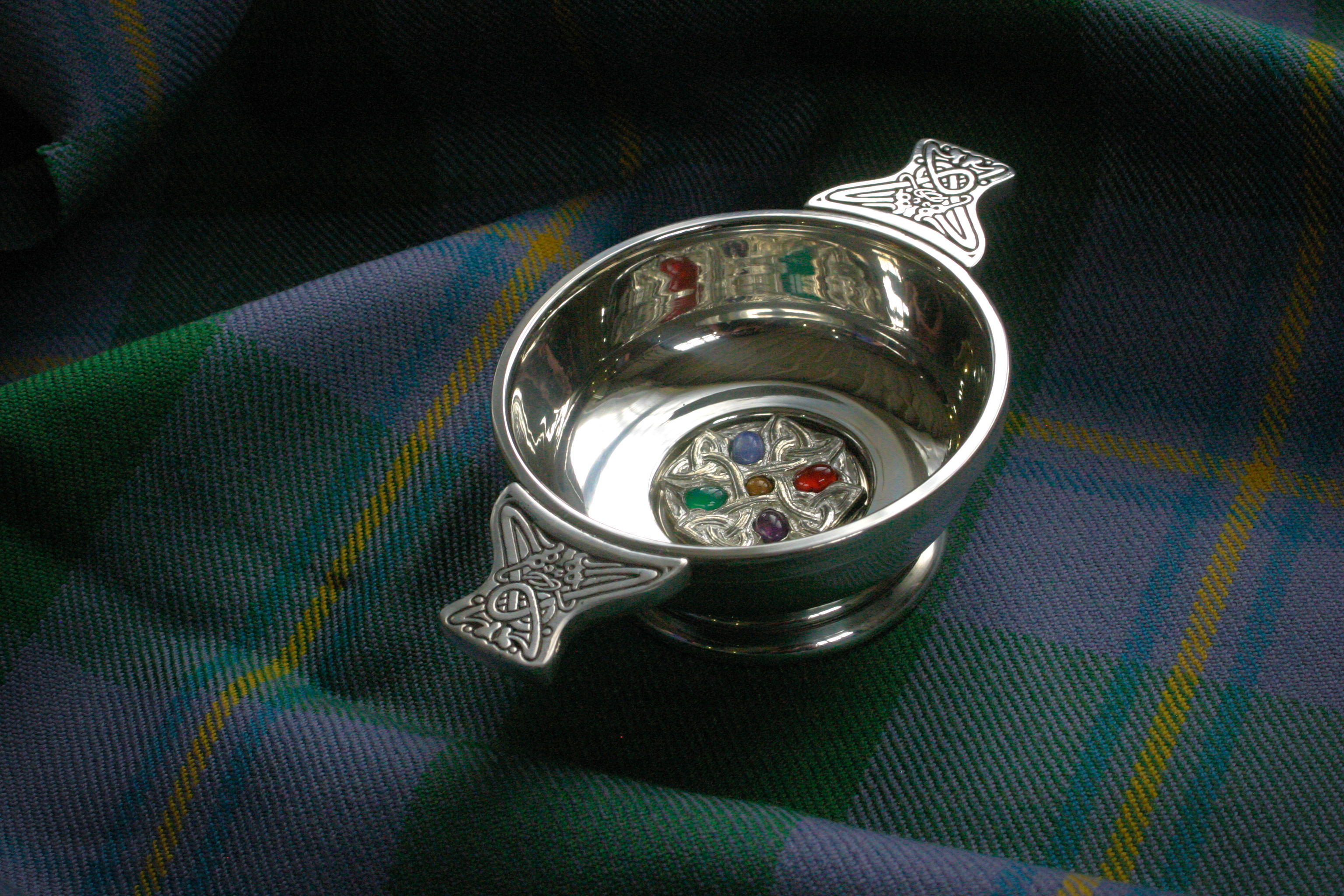 Our fancy Celtic Gemset Quaich, complete with gemstones